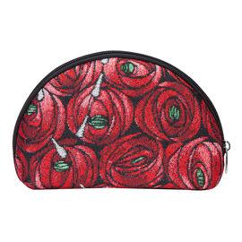 Signare Tapestry -  Mackintosh Rose & Tear Drop Big Cosmetic Bag (24.5x16x7 Cm) - Red