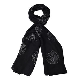 New Arrival- Black Colour Tree Pattern Scarf (Size 180x70 Cm)