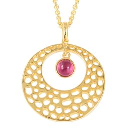 RACHEL GALLEY African Ruby (Rnd) Lattice Pendant with Chain (Size 30) in Yellow Gold Overlay Sterlin