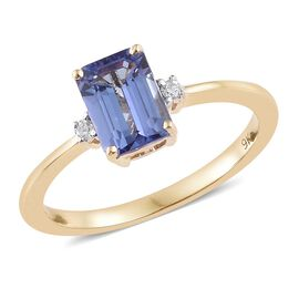 Tanzanite (1.00 Ct) and Diamond 9K Y Gold Ring  1.030  Ct.