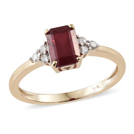 9K Yellow Gold African Ruby (Oct) Diamond Solitaire Ring 1.600 Ct.