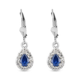 Burmese Blue Sapphire and Natural Cambodian Zircon Lever Back Earrings in Platinum Overlay Sterling