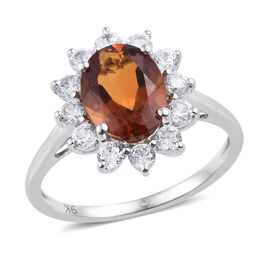 9K White Gold AAA Madeira Citrine (Ovl 9x7 mm), Natural Cambodian Zircon Floral Ring (Size T) 2.400 Ct.