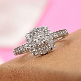 0.50 Ct Diamond Cluster Ring in 9K White Gold SGL Certified I2 I3 GH 2.35 Grams