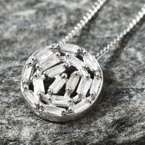 Diamond Platinum Overlay Sterling Silver Pendant With Chain (Size 20)  0.200 Ct.