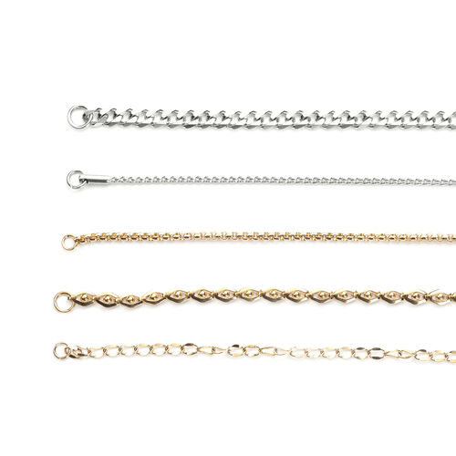 Set of 5 -  Necklace (Size 20) in Yellow and White Gold Tone