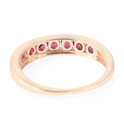 9K Yellow Gold AAA Red Spinel Half Eternity Band Ring 1.00 Ct.