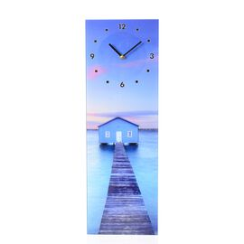 Wall Decor - House with Bridge and River Pattern Rectangle Glass Wall Clock (Size 60x20x4 Cm)