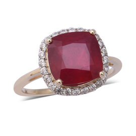 9K Yellow Gold AAA African Ruby (Cush 10x10mm), Natural Cambodian Zircon Ring 7.09 Ct.