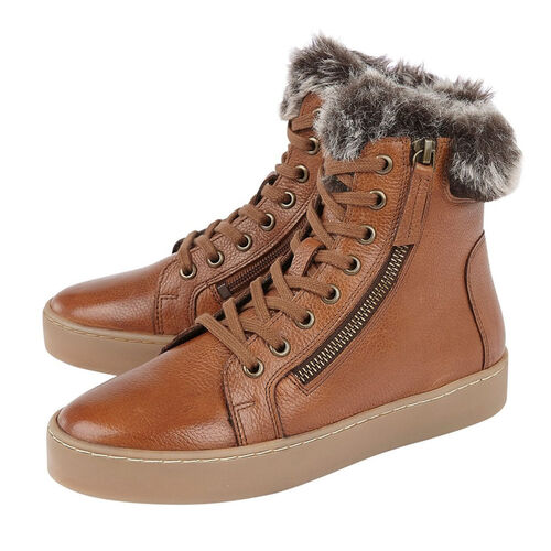 Lotus Siobhan Leather Stressless Sneakers with Faux Fur Lining (Size 4) - Tan