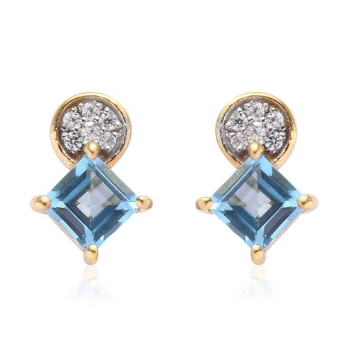 AA Swiss Blue Topaz and Natural Cambodian Zircon Earrings (with Push Back) in 14K Gold Overlay Sterl