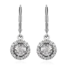 Diamond Cluster Drop Earrings with Lever Back in 9K White Gold SGL Certified I2 I3 GH 0.23 Ct