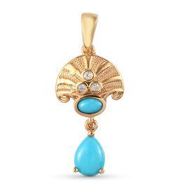 Arizona Sleeping Beauty Turquoise and Natural Cambodian Zircon Dangle Pendant in 14K Gold Overlay St