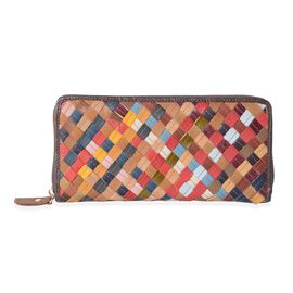 Morocco Collection100% Hand Woven Genuine Leather Multi Colour Blocking Wallet (Size 19x9x2.5 Cm)