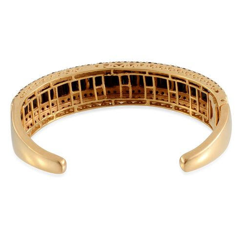 Boi Ploi Black Spinel (Bgt) Bangle (Size 7.5) in 14K Gold Overlay Sterling Silver 21.750 Ct. Silver wt 27.95 Grams