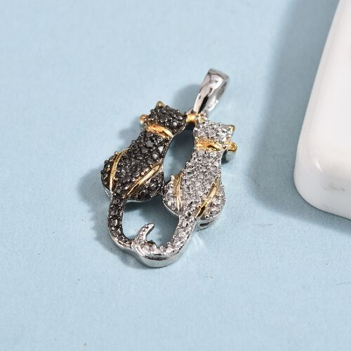 Black and White Diamond Twin Cat Pendant in Black Rhodium, Platinum and Yellow Gold Overlay Sterling Silver