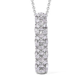 Diamond (Bgt) Pendant with Chain in Platinum Overlay Sterling Silver 0.20 Ct.