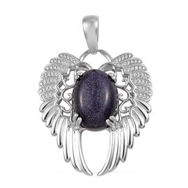 10.50 Ct Blue Sandstone Angel Wing Pendant in Platinum Plated