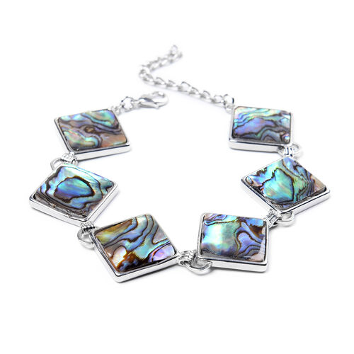 Abalone Shell Station Bracelet 7 with 2 inch Extender