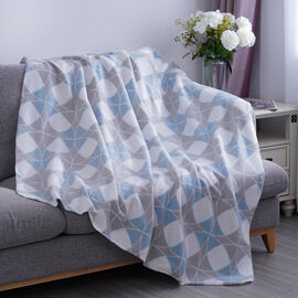 Blue & Grey Check Pattern Fleece Printed Blanket with Horse Stitching (Size: 130x170cm)