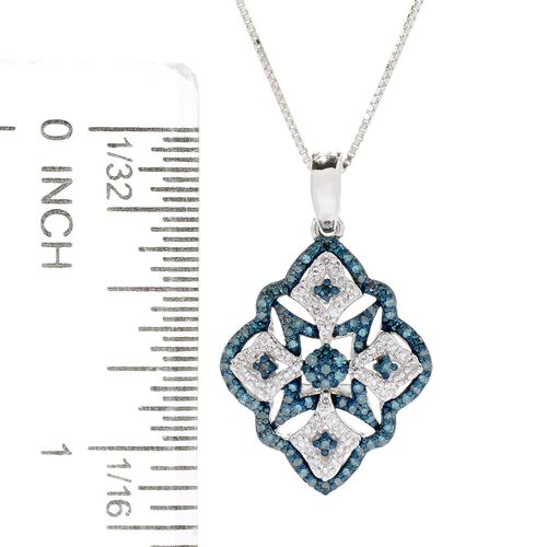 Blue Diamond (Rnd) Pendant with Chain (Size 18) in Blue Rhodium Overlay Sterling Silver 0.500 Ct.