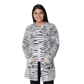 Soft and Smooth Winter Tiger Pattern Sweater Coat with 2 Pockets (Size 51x81 Cm) - Black and White