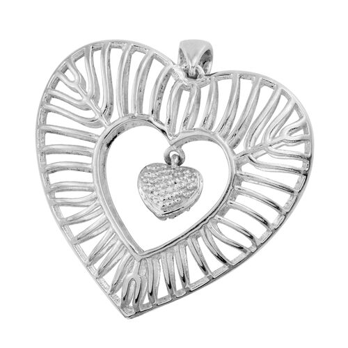 J Francis - Platinum Overlay Sterling Silver Dangle Heart Pendant Made with SWAROVSKI ZIRCONIA