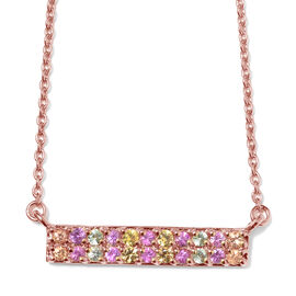 1 Carat Rainbow Sapphire Cluster Bar Necklace in Rose Gold Plated Silver
