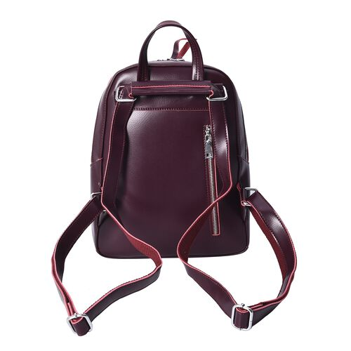 100% Genuine Leather Croc Embossed Backpack with Double Zip Closure and Adjustable Shoulder Strap (Size 26x10.5x32.5 Cm) - Burgundy