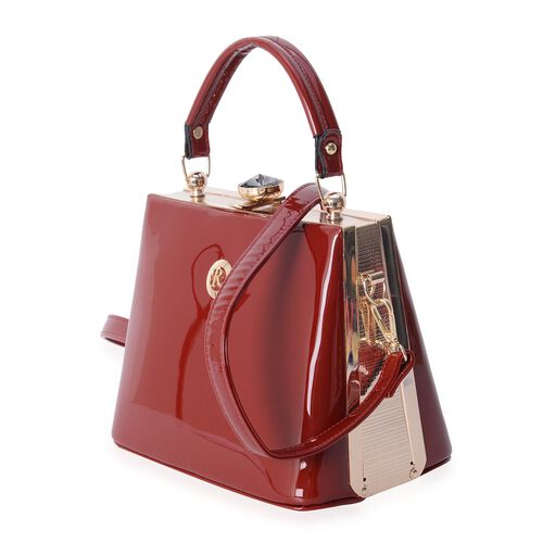 Boutique Collection High Glossed Vintage Style Ture Red Colour Tote Bag with Removable Shoulder Strap (Size 22x18x14 Cm)
