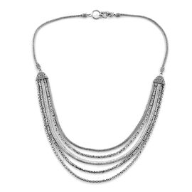 Royal Bali Multi Strand Tulang Nage Borbodur Multi Strand Necklace in Silver 75.76 Grams 22 Inch