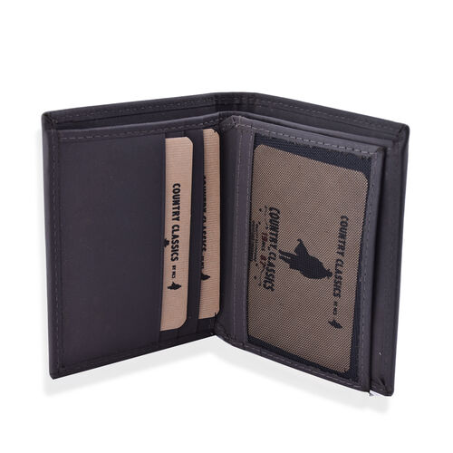 MCS Country Classics 100% Genuine Leather Wallet ( 9x10.5 Cm) - Dark Grey