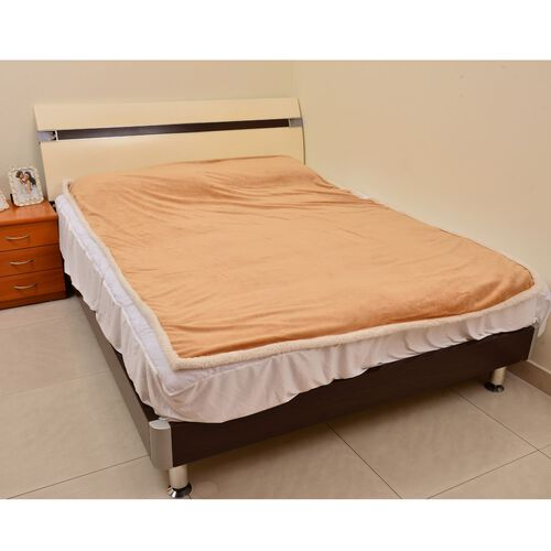 Superfine Microfibre Flannel reversible Sherpa Blanket Sand and White Colour (Size 200x150 Cm)