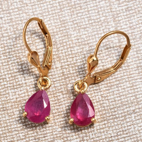 African Ruby (Pear) Lever Back Earrings in 14K Gold Overlay Sterling Silver 3.250 Ct.