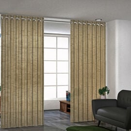 Set of 2 - Cotton Textured Slub Curtain with Eyelets (Size 140x228cm) - Light Brown