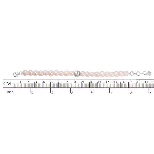 Rachel Galley Fresh Water White Pearl (Rnd 8mm) Bracelet (Size 8) in Rhodium Overlay Sterling Silver