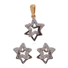 2 Piece Set Natural Cambodian Zircon (Rnd) Star Pendant and Earrings (with Push Back) in 14K Gold an