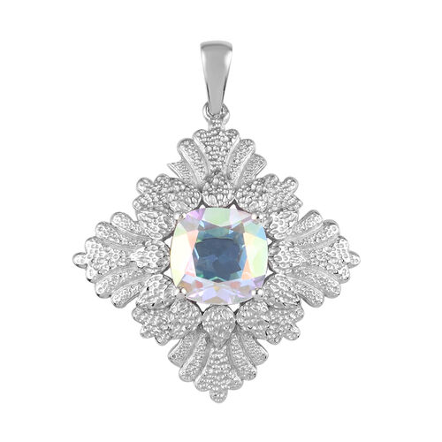 Mercury Mystic Topaz Pendant in Platinum Overlay Sterling Silver 5.00 Ct, Silver wt 5.93 Gms