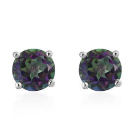Northern Lights Mystic Topaz (Rnd) Stud Earrings (with Push Back) in Platinum Overlay Sterling Silver 2.000 Ct.