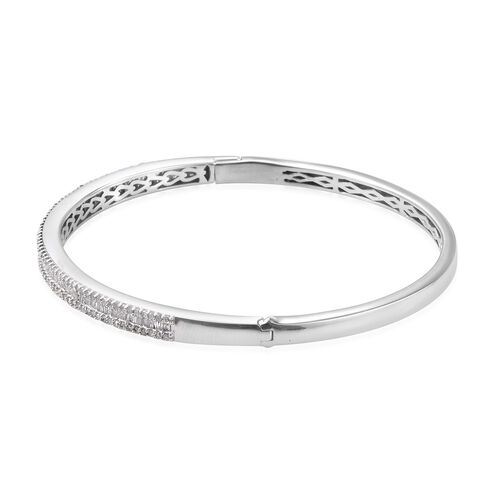 Diamond (Bgt and Rnd) Bangle (Size 7.5) in Platinum Overlay Sterling Silver 1.510 Ct., Silver Wt. 18.45 Gms
