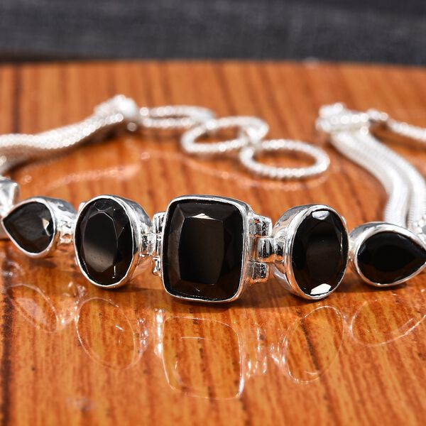 Elite Shungite (Cush 11x9 mm) Bracelet (Size 7.5 to 8.5) in Sterling Silver 7.25 Ct. Silver wt. 13.00 Gms