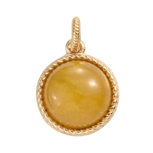 One Time Mega Deal-Yellow Jade (Rnd) Pendant in 14K Yellow Gold Overlay Sterling Silver 6.000 Ct.