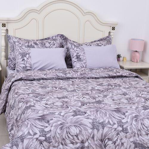 Set of 6 - Chrysanthemum Pattern Summer Duvet, Fitted Sheet, 2 Oxford and 2 Standard Pillow Case (Si