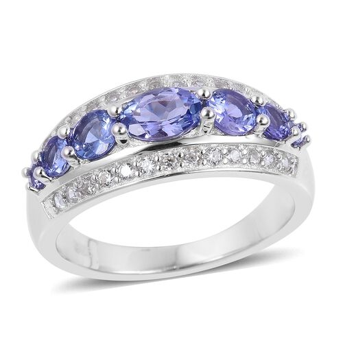Tanzanite (Ovl and Rnd), Natural White Cambodian Zircon Ring in Rhodium Plated Sterling Silver 1.650