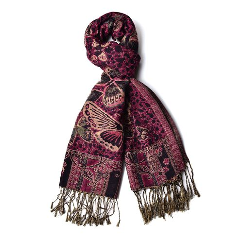 Gold and Multi Colour Butterfly Pattern Pink Colour Scarf with Tassels (Size 175x68 Cm)