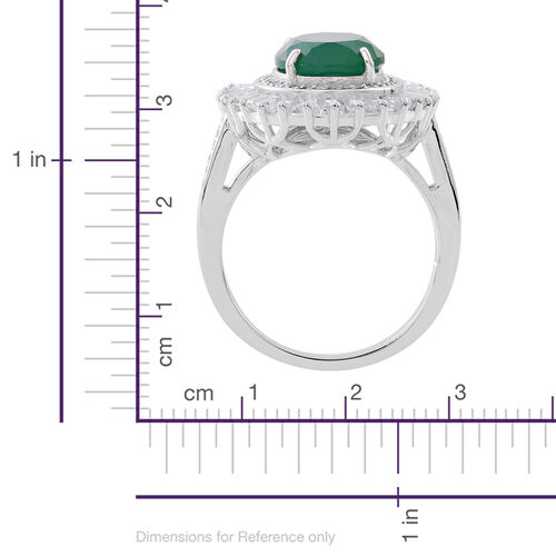 Verde Onyx (Ovl 5.30 Ct), White Topaz Ring in Rhodium Plated Sterling Silver 8.150 Ct.