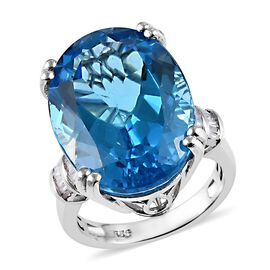 23 Ct AAAA Swiss Blue Topaz and Diamond Solitaire Design Ring in Platinum Plated Silver 5.10 Grams