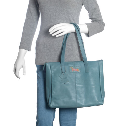 2 Piece Set - Super Soft 100% Genuine Leather Sausage Dog Logo Teal Tote bag with Matching RFID Purse (32x26x12cm