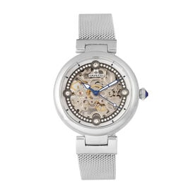 Empress Adelaide Automatic Movement White Dial 5 ATM Water Resistant Ladies Watch in Silver Tone