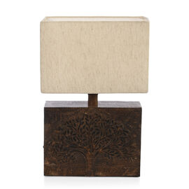 NAKKASHI -Solid Wood Hand Carved Tree of Life Table Lamp in Antique Burn Wax Finish (Lamp Shade Incl